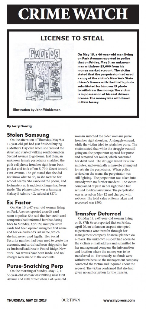 Crime report illustration for May 23, 2013