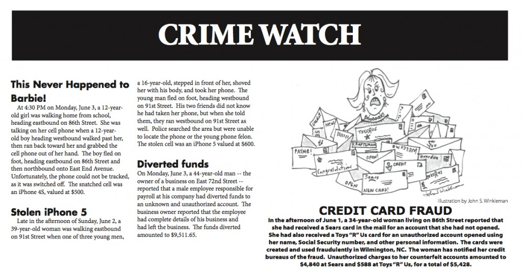 Our Town Crime Report 6/13/2013 by John S. Winkleman