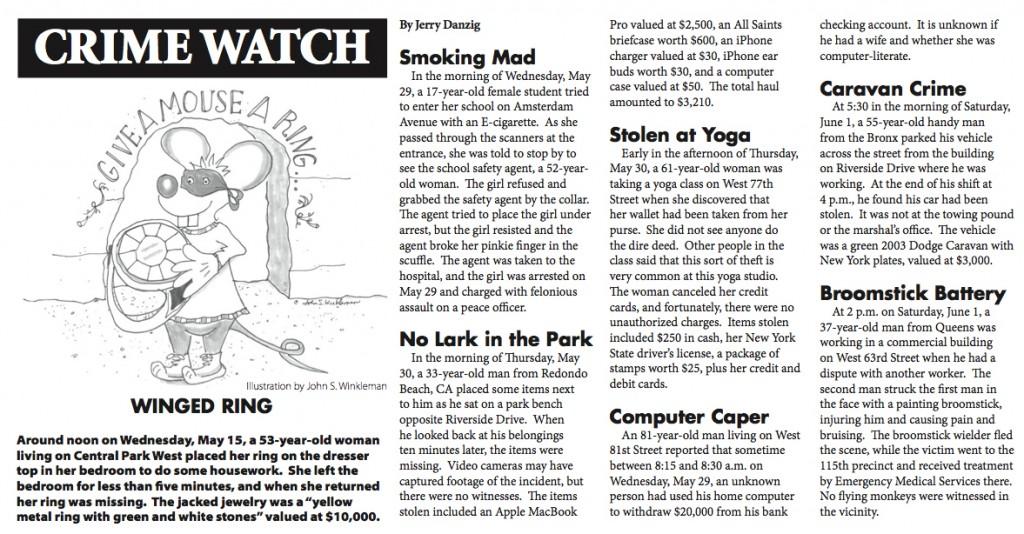 Crime Report illustration for the West Side Spirit 6/13/2013 by John S. Winkleman